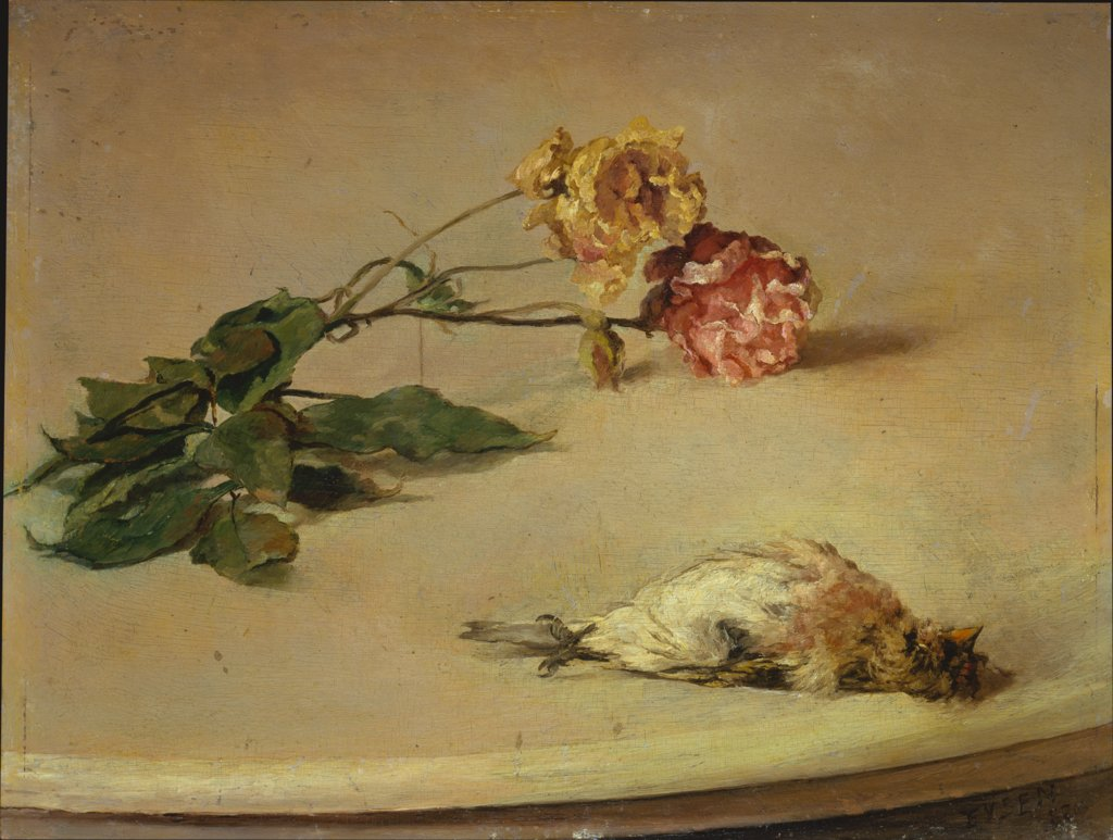 Dead Bird and Two Roses on a Table Board, Louis Eysen