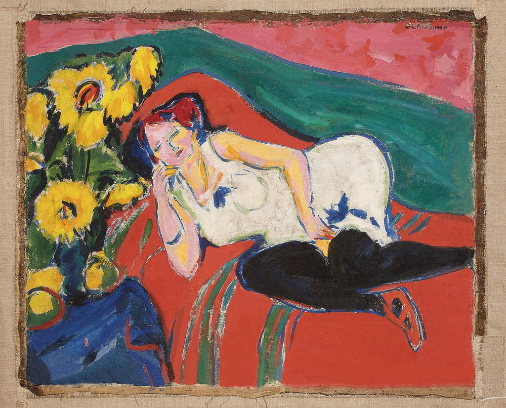 Reclining Woman in a White Chemise, Ernst Ludwig Kirchner