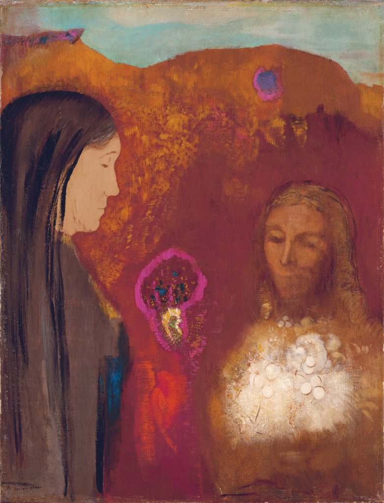 Christ and the Samaritan Woman (The White Flower Bouquet), Odilon Redon
