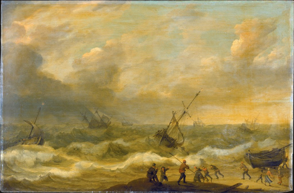 Stormy Sea with many Ships, Adam Willaerts  and workshop