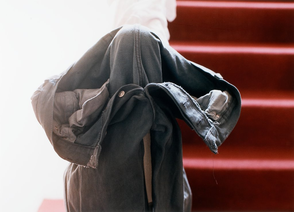 Grey jeans over stair post, Wolfgang Tillmans