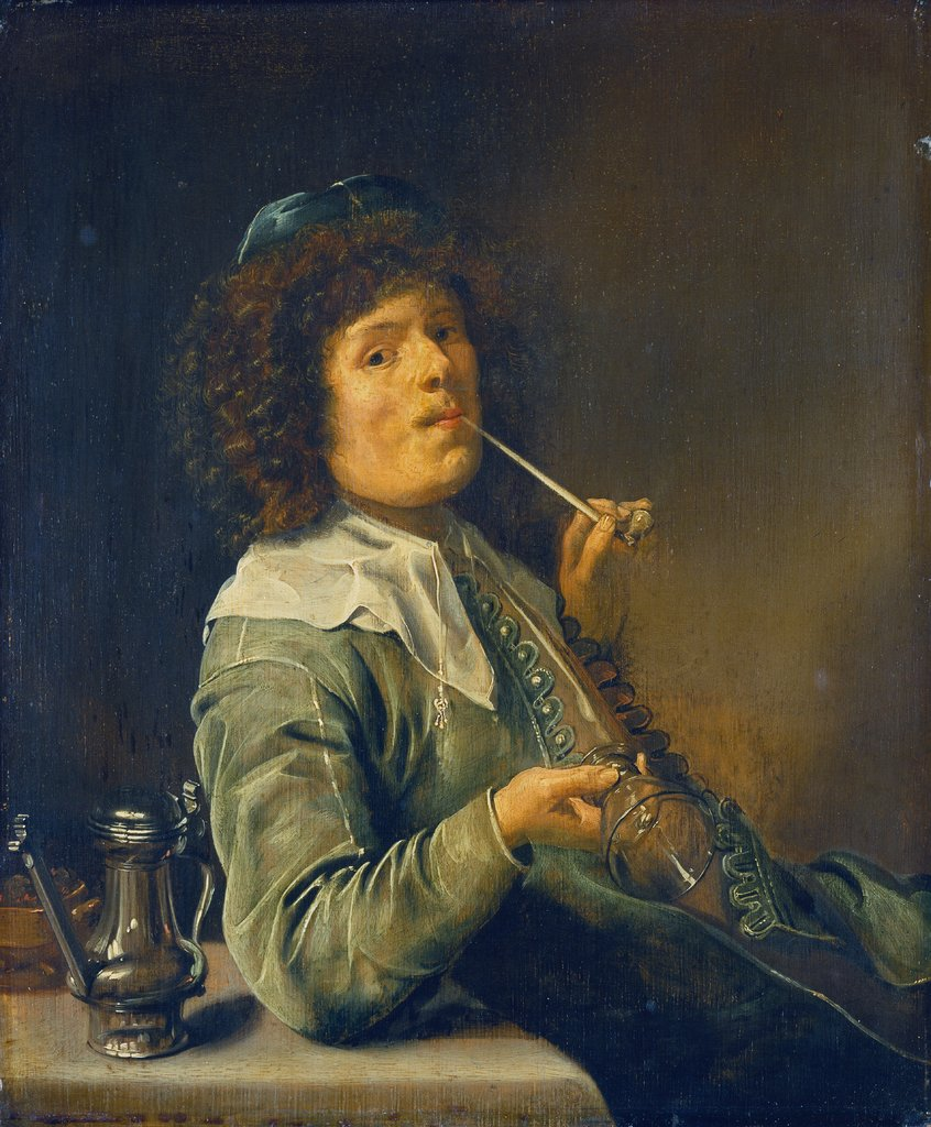 Man Smoking and Holding an Empty Wine Glass, Jan Miense Molenaer