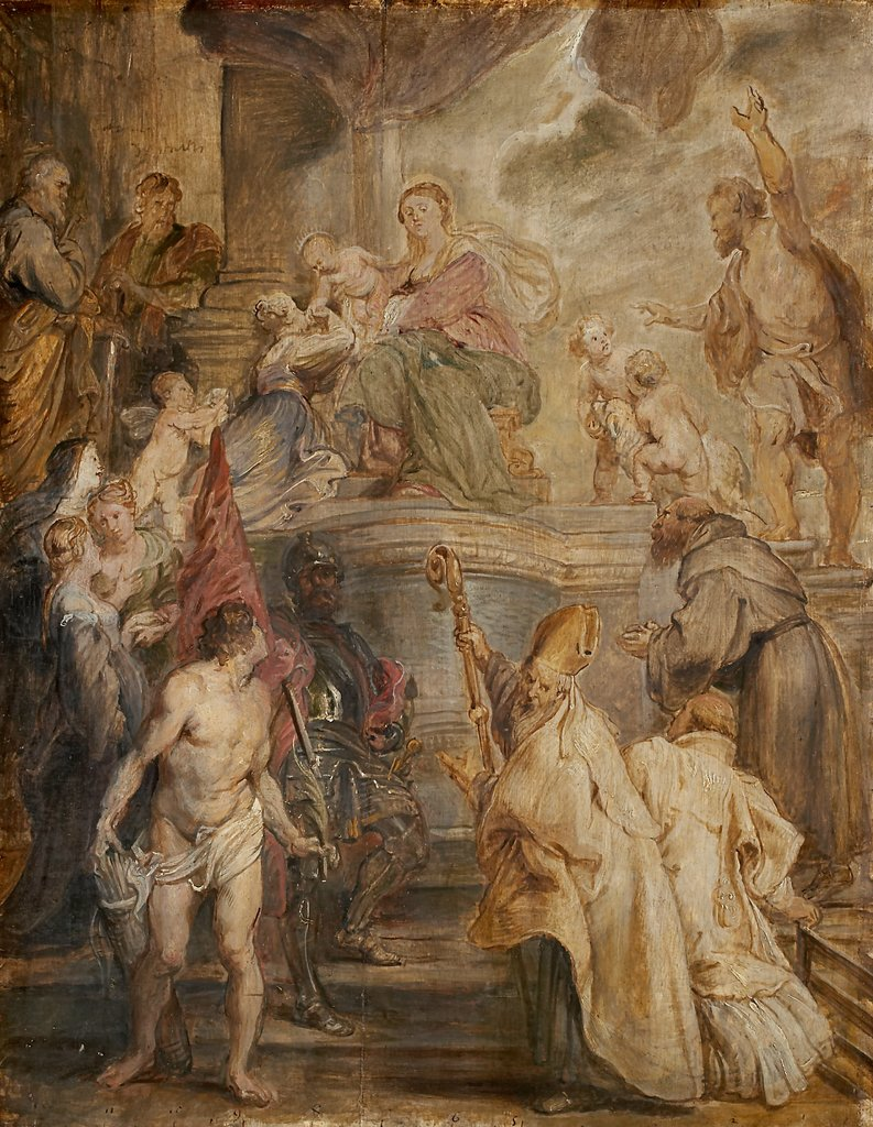 The Mystic Marriage of St Catherine (Colour Sketch for the Altar of the Church of the Augustinian Fathers in Antwerp), verso: Two Cavalry Battles, Peter Paul Rubens