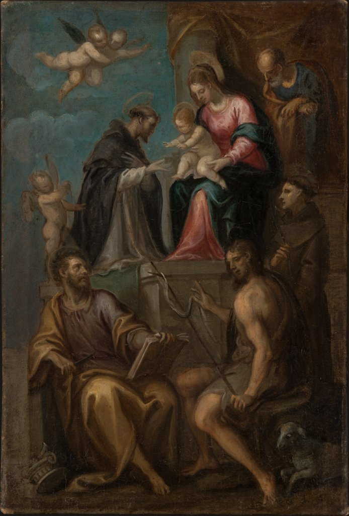 Madonna and Child Enthroned, with SS. Joseph, Domenic, Bartholomew, John the Baptist and Francis, Italian Master second half of the 16th century