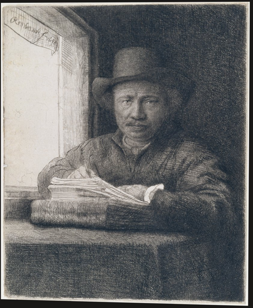 Self-Portrait etching at a window, Rembrandt Harmensz. van Rijn