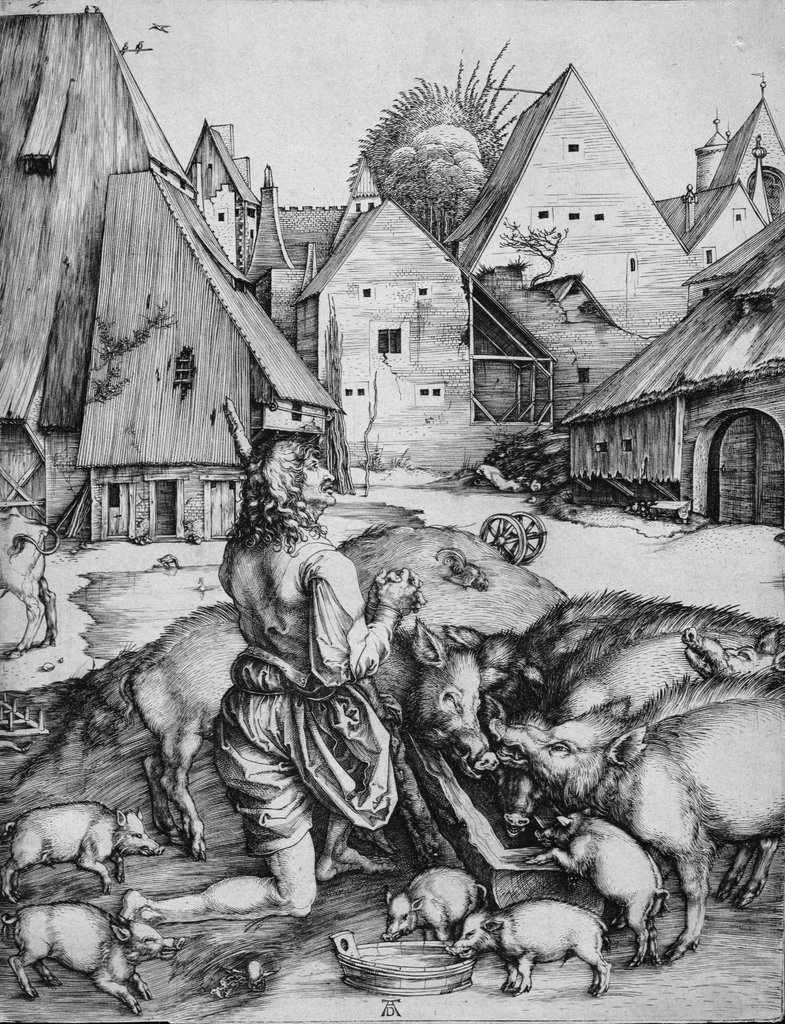 The Prodigal Son amind the Swine, Albrecht Dürer
