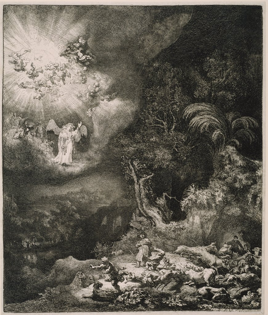 The Angel Appearing to the Shepherds, Rembrandt Harmensz. van Rijn