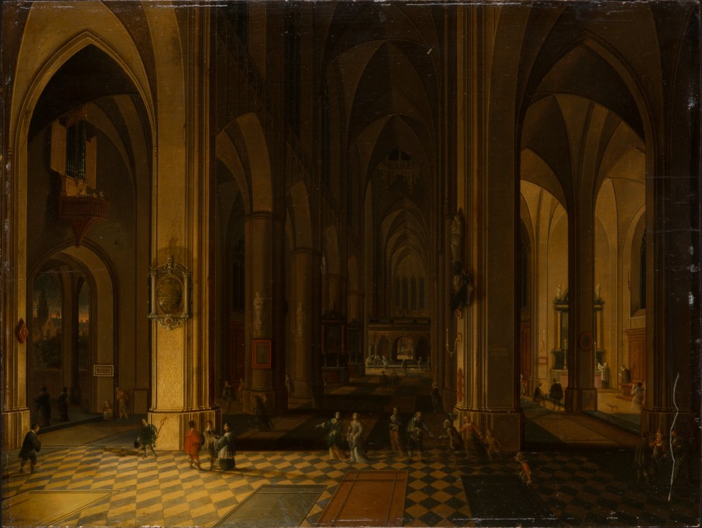 Interior of a Gothic Church by Candlelight, Pieter Neefs the Younger, Bonaventura Peeters the Elder