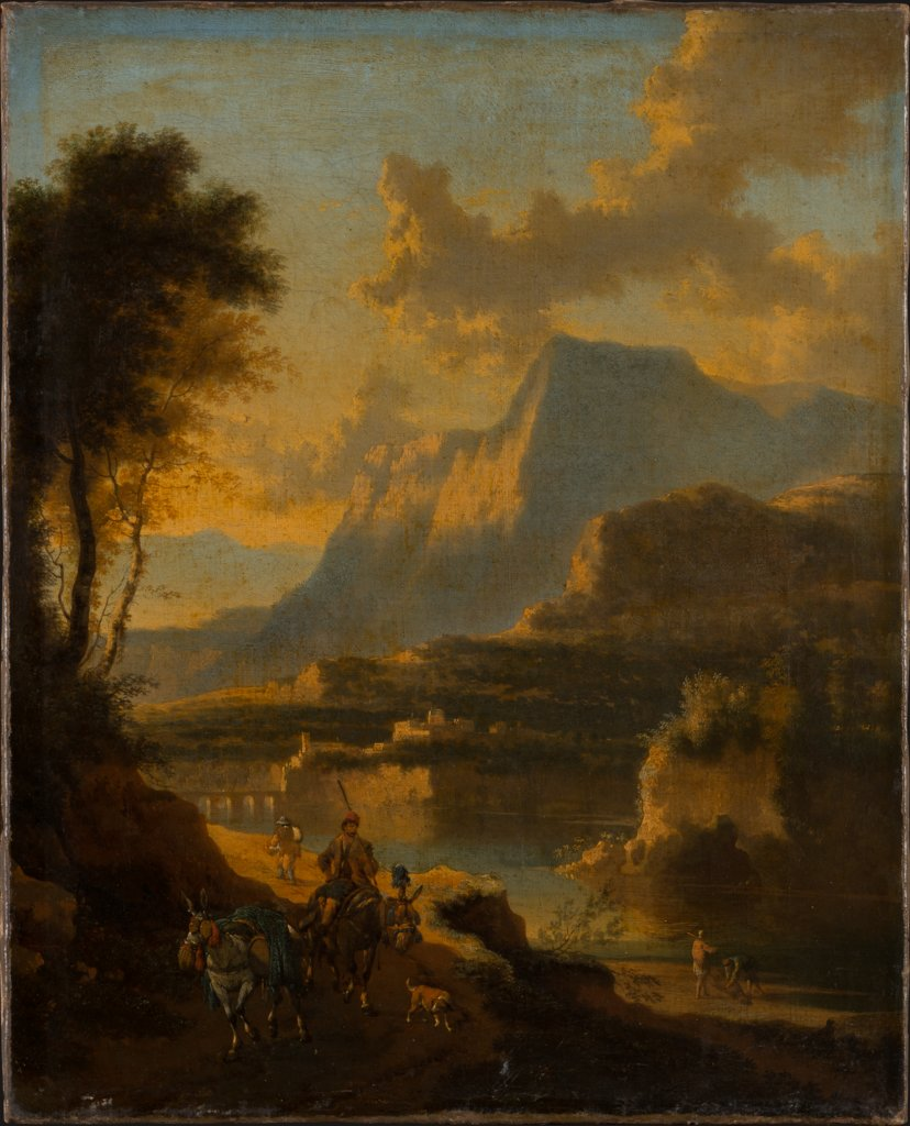 Mountainous Landscape with Rider at Sunset, Jan Hackaert, Johannes Lingelbach