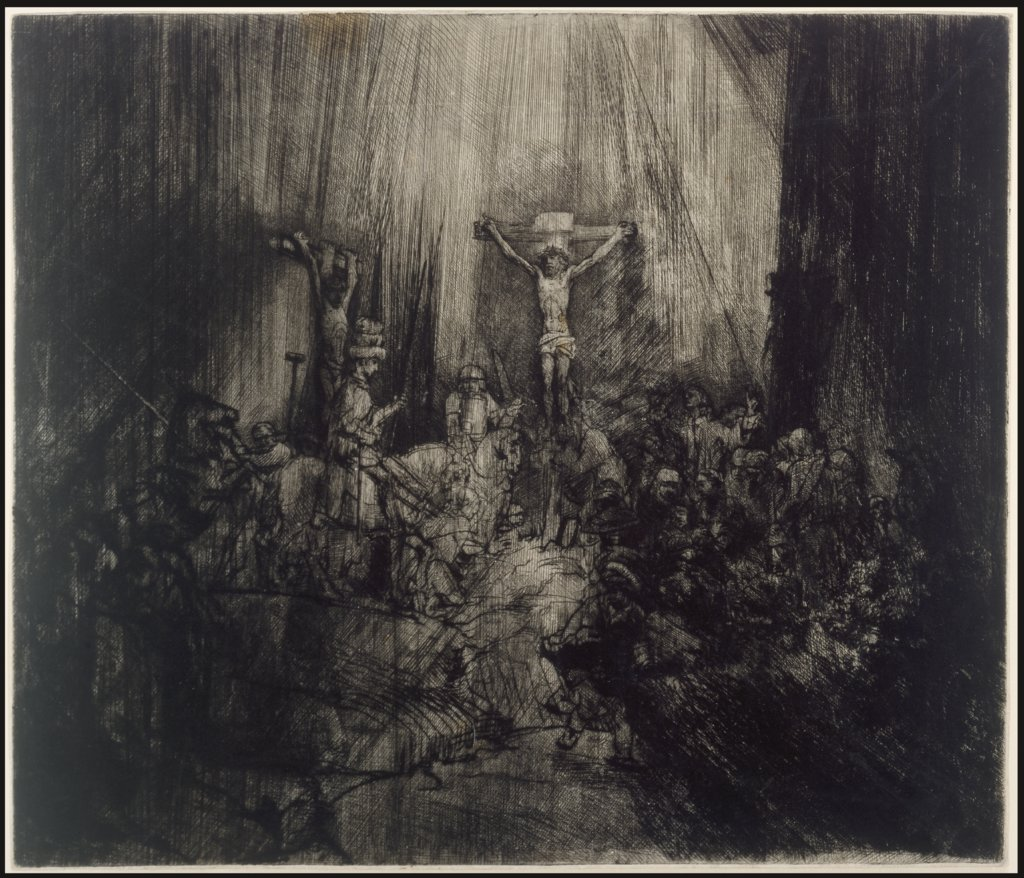 Christ crucified between the two thieves: 'The three crosses', Rembrandt Harmensz. van Rijn