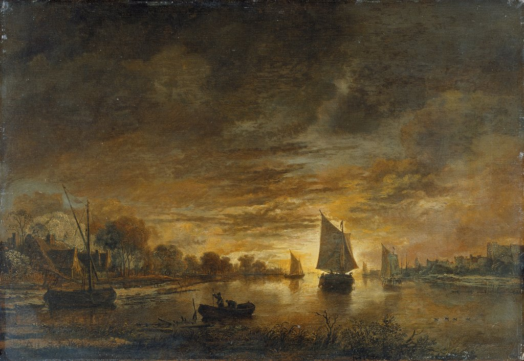 River Landscape with Ships at Moonrise, Aert van der Neer