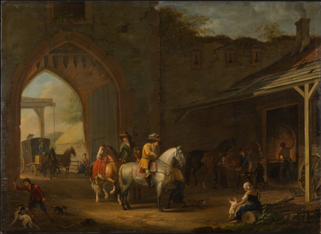 Horsemen at the Blacksmith's, Johann Georg Pforr