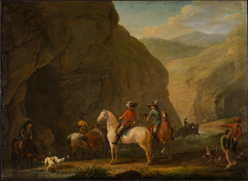 Mountain Landscape with a Hunting Party, Johann Georg Pforr