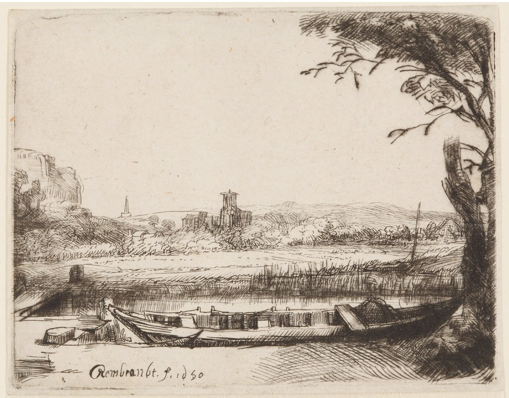 Casnal with a large boat and a Bridge, nach Rembrandt Harmensz. van Rijn