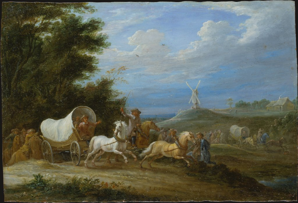 Landscape with the Attack on a Covered Wagon by a Group of Riders, Lambert de Hondt the Elder