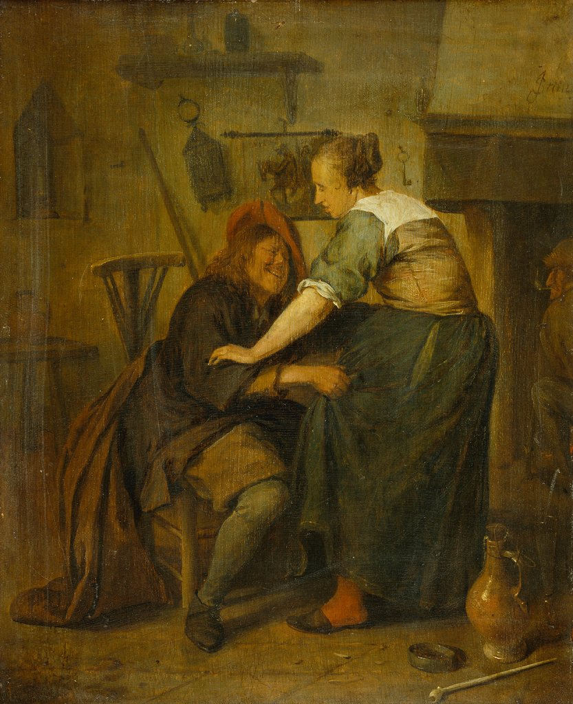"Inn with Guest and Serving Maid (""The Importunate Guest""), Jan Steen"