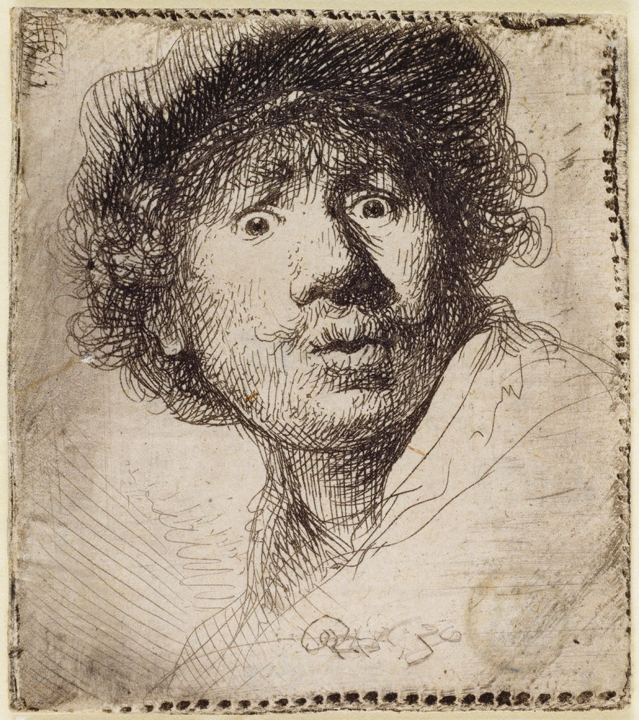 Self-Portrait in a cap, wide-eyed and open-mouthed, Rembrandt Harmensz. van Rijn