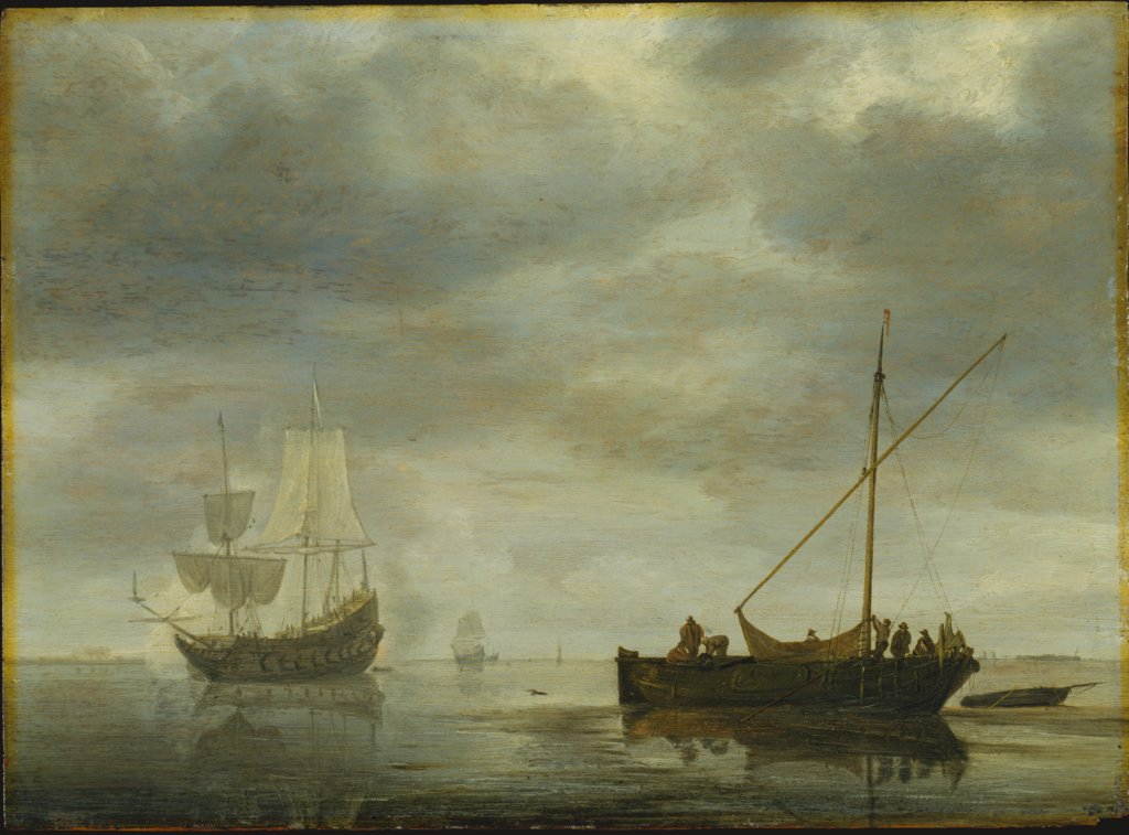 Single-Master and Frigate Firing Salute on a Calm Sea, Simon de Vlieger