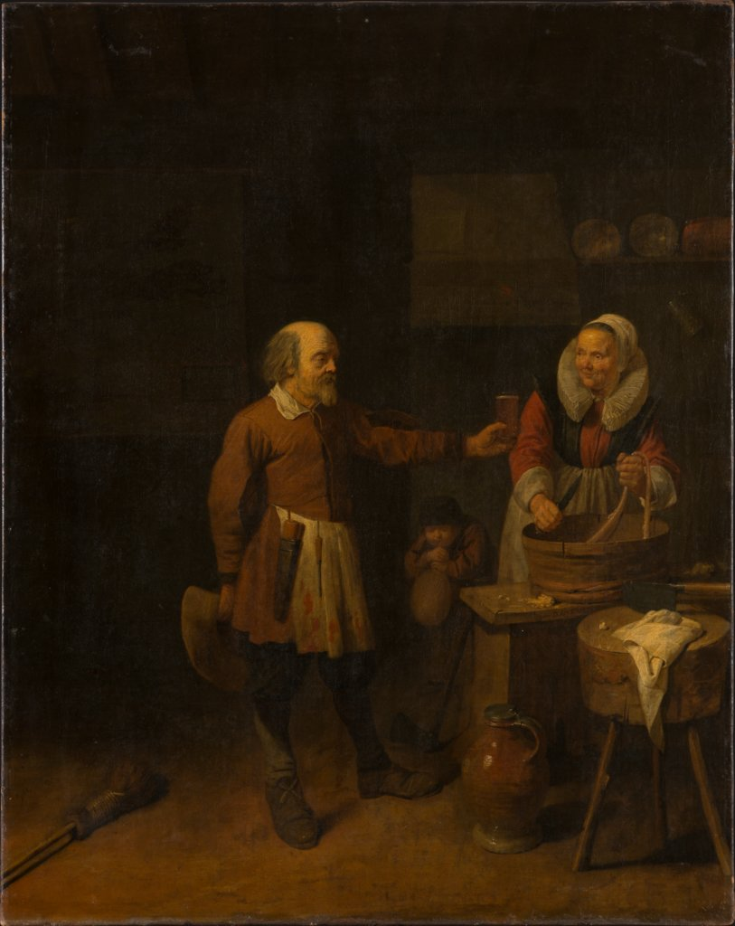 A Butcher Offering a Woman a Glass of Beer, David Ryckaert III
