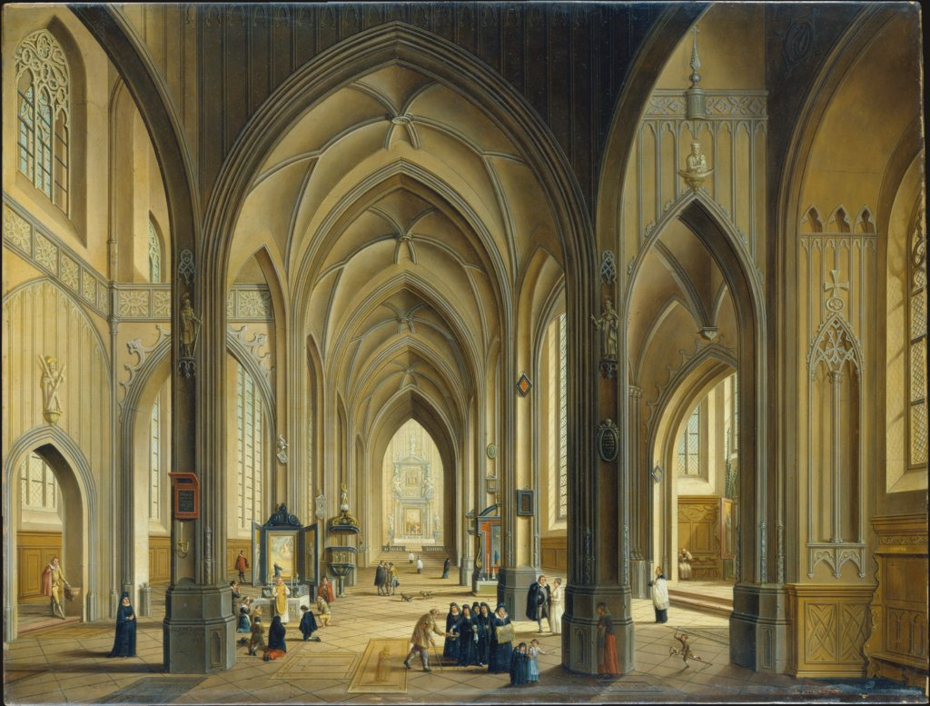 Interior of a Gothic Church, Johann Ludwig Ernst Morgenstern