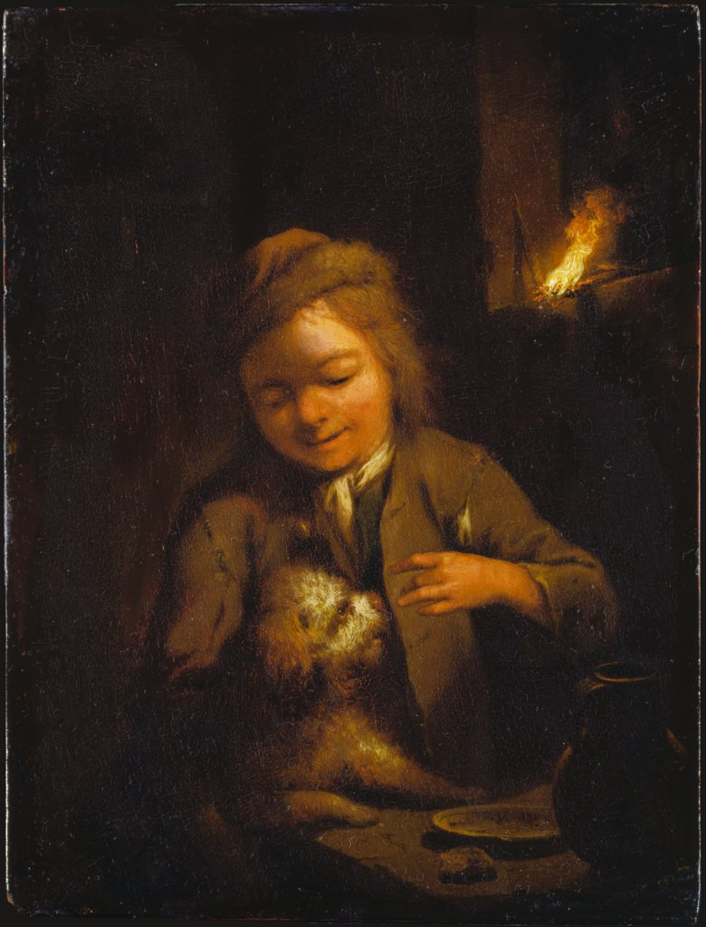 Boy Teasing a Dog: Nightscene Lit by Pinewood Torch, Johann Conrad Seekatz