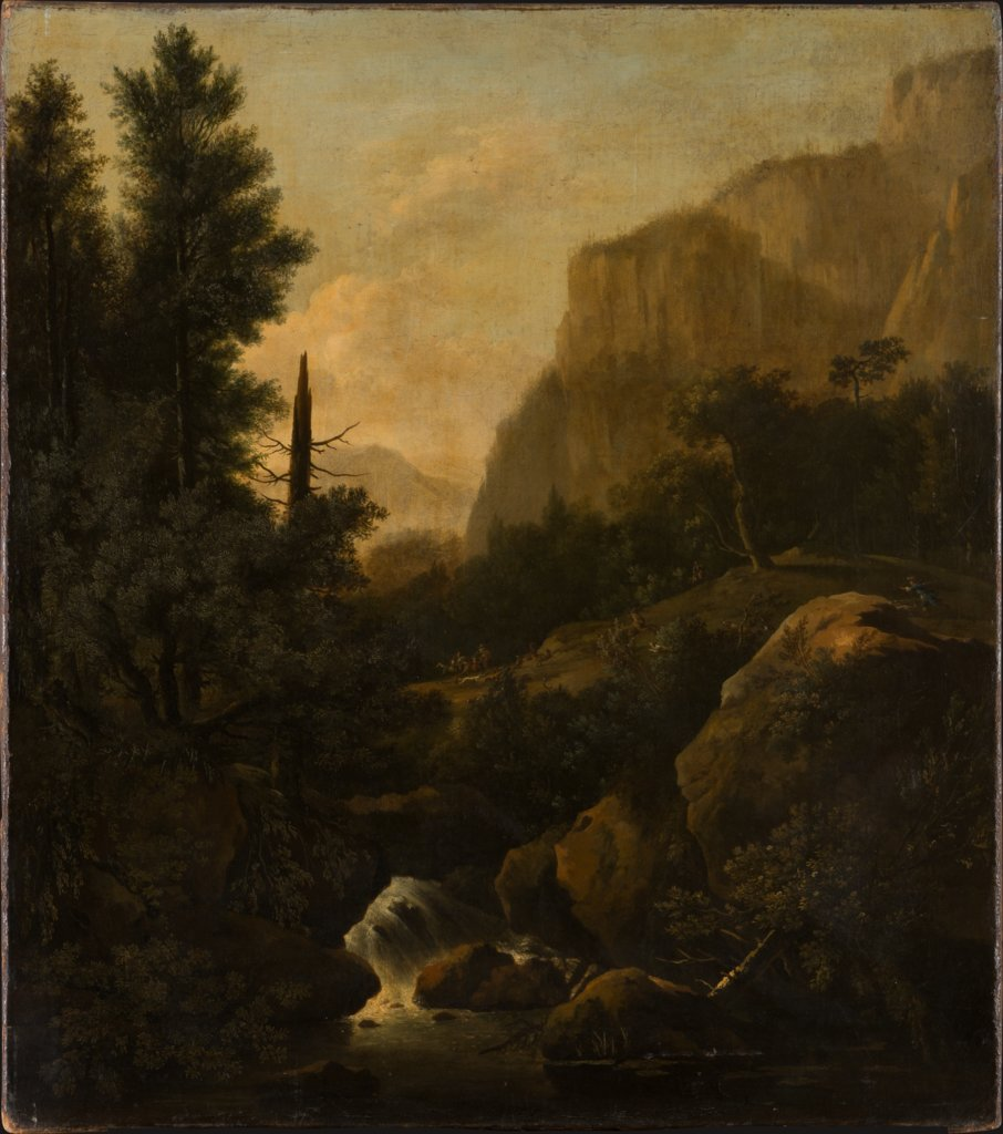 Mountain Landscape with Deer Hunt at a Waterfall, Frederik de Moucheron, Adriaen van de Velde