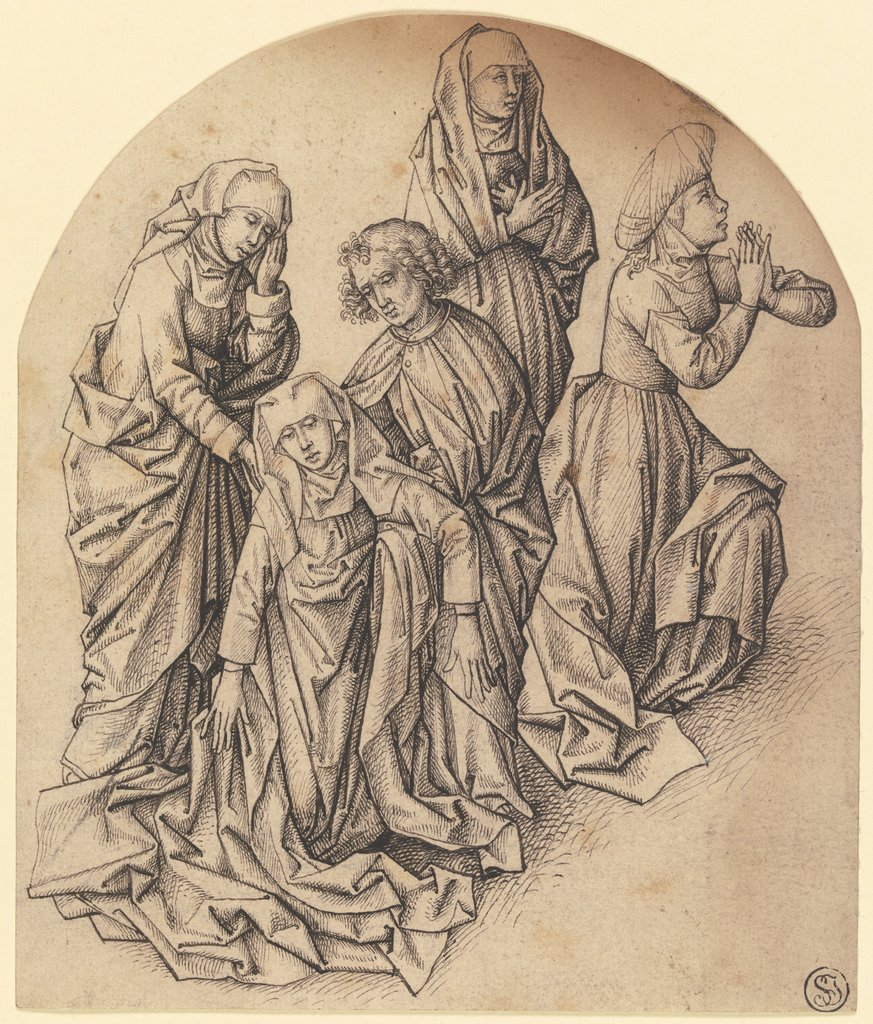 Trauernde unter dem Kreuz, Martin Schongauer  succession, after Dieric Bouts the Elder  circle