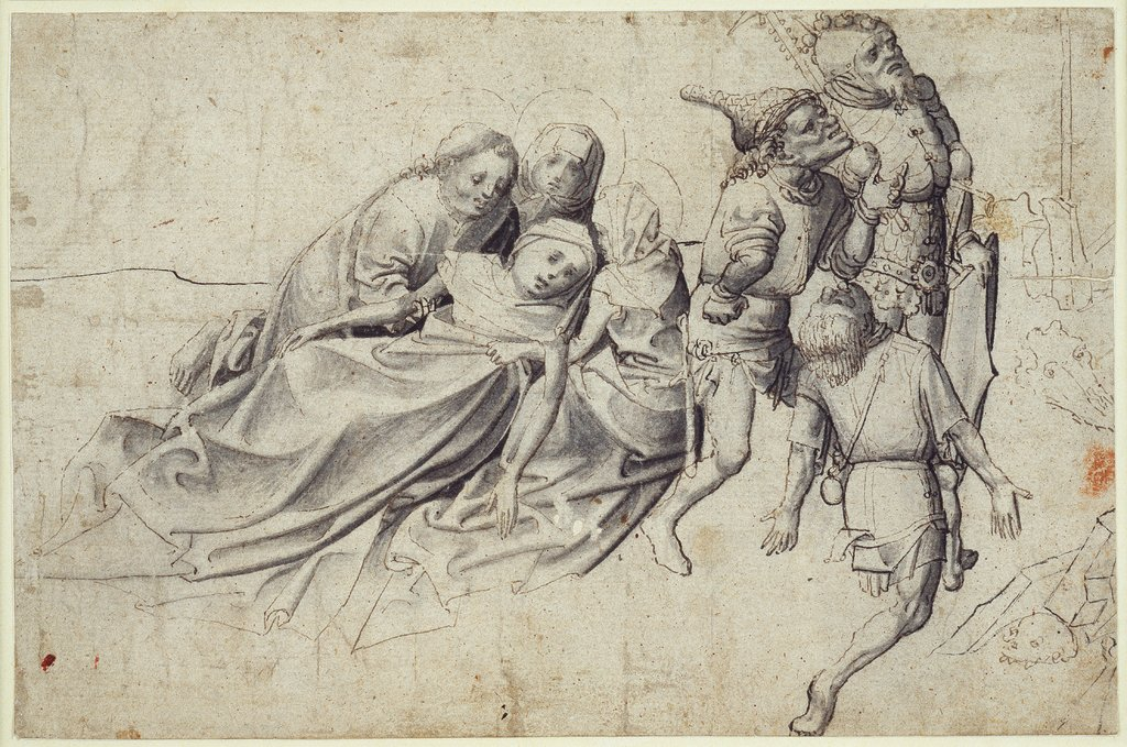 Mourning Figures and Soldiers beneath the Cross, Master of the Worcester Carrying of the Cross