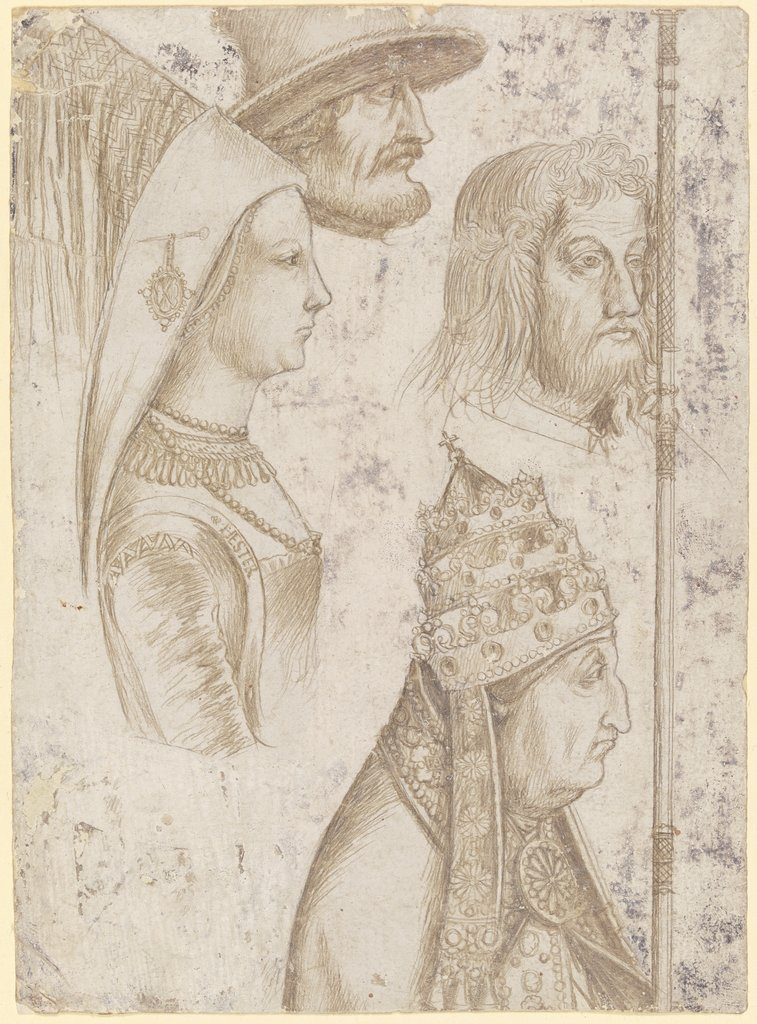 Four studies of heads, Hans Holbein the Elder  workshop