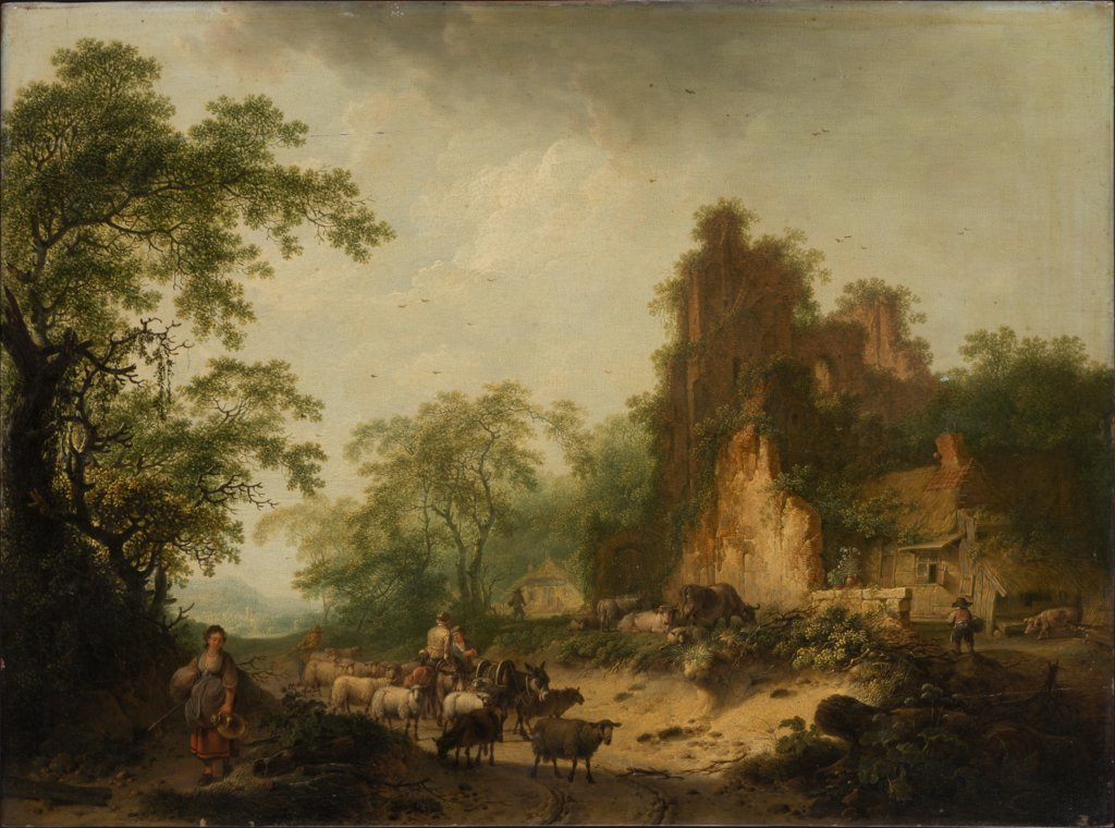 Landscape with Herd of Sheep in Front of a Peasant Hut in a Ruins, Hendrik Meyer