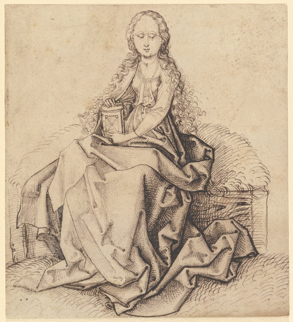 Sitting saint, Martin Schongauer  school; attributed