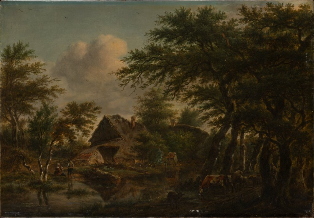 Landscape with Farm Amidst Trees, Jan Hulswit