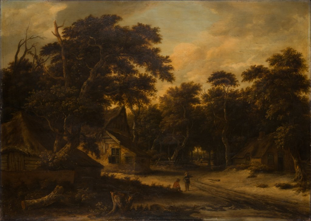 Several Peasant Huts in a Woods, Roelof Jansz. van Vries