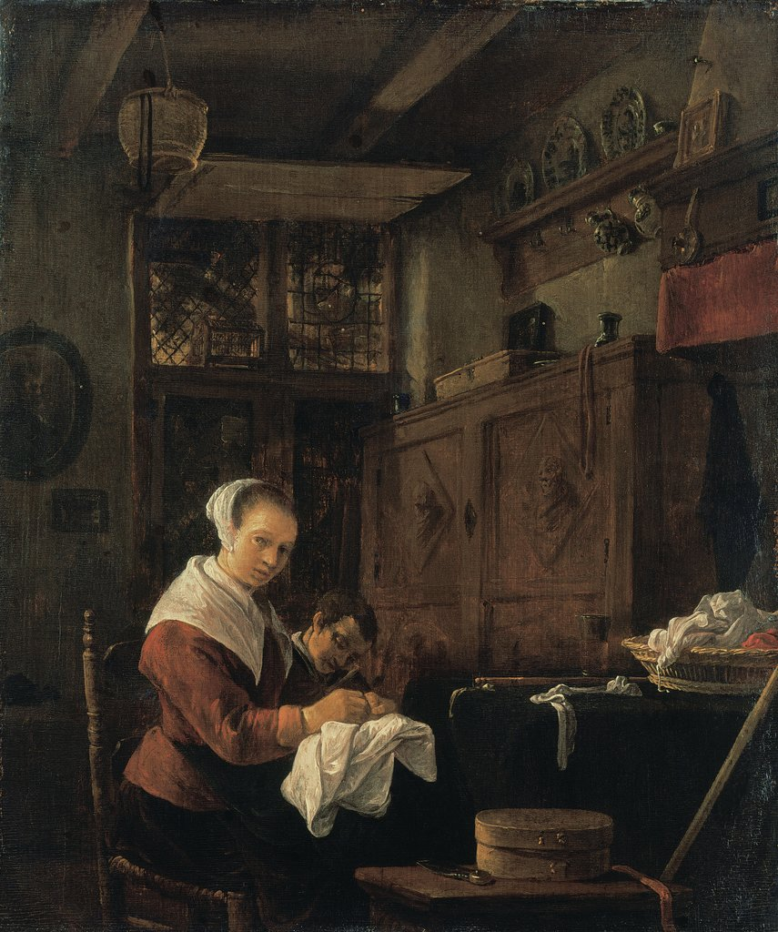 Woman at Her Sewing Table, Thomas Wijck