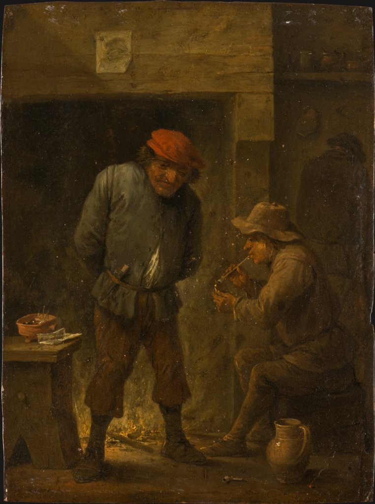 Two Peasants at a Fireplace, copy after David Teniers the Younger