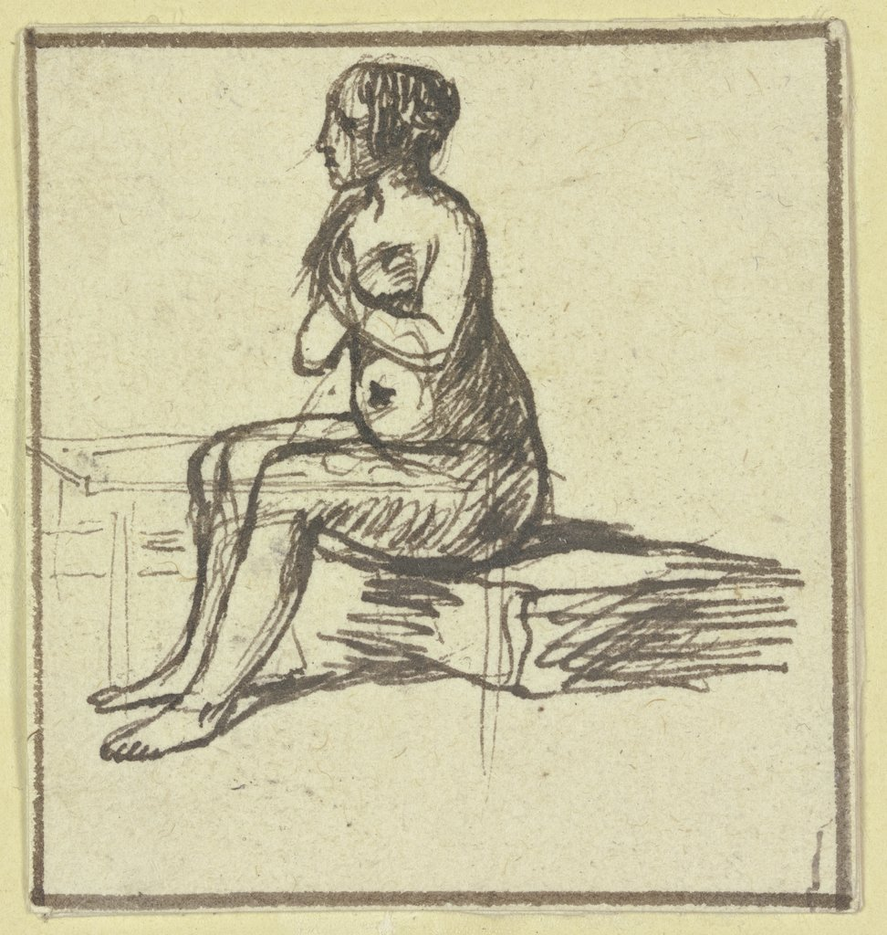 Sitting female nude, Hendrik Goudt