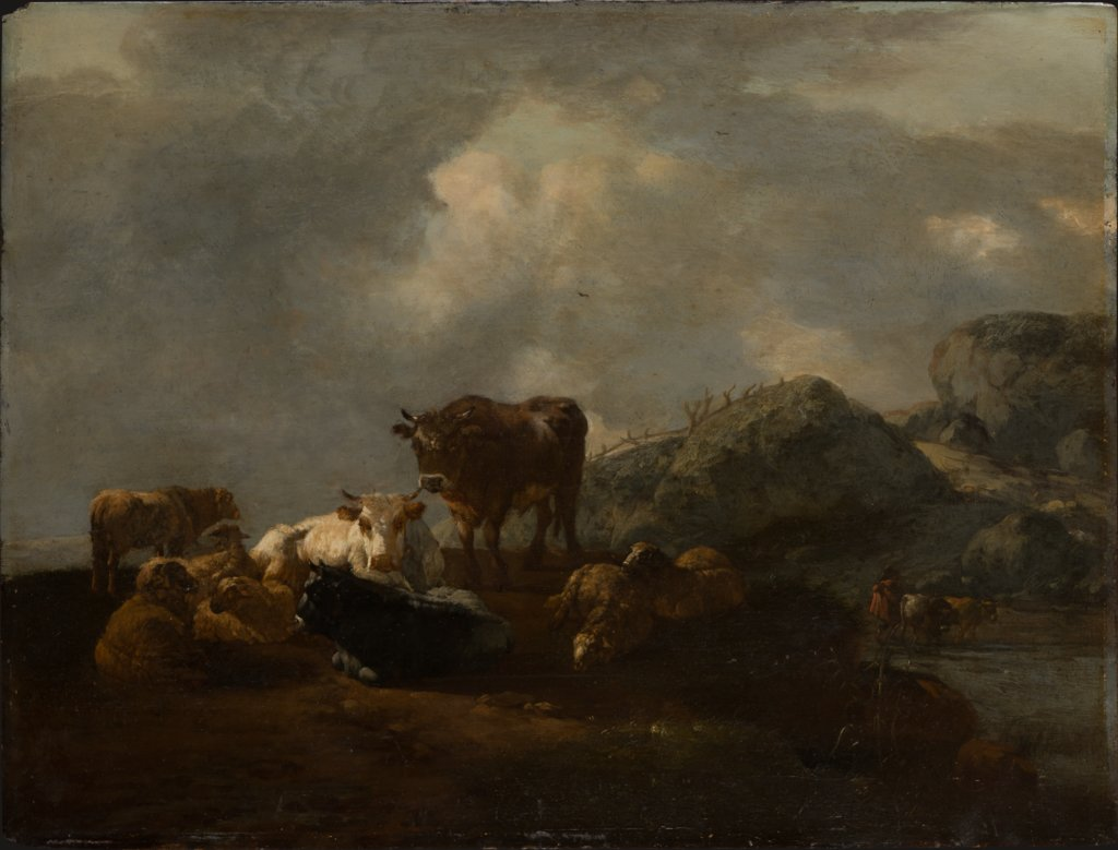 Cattle Resting at a River Crossing, Willem Romeyn