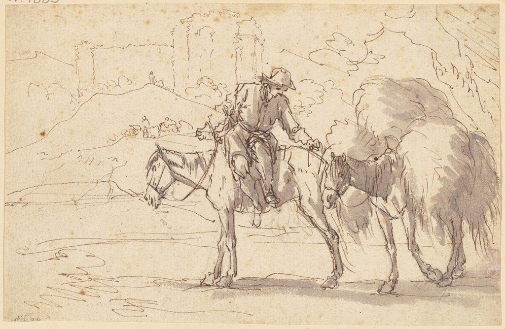A farmer on a horse, Georg Philipp Rugendas d. Ä.