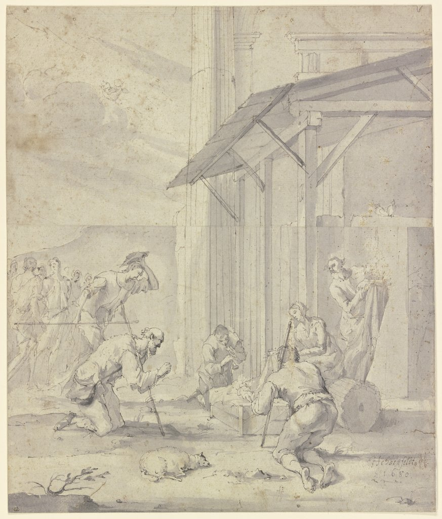 Adoration of the shepherds, Johann Heinrich Schönfeld