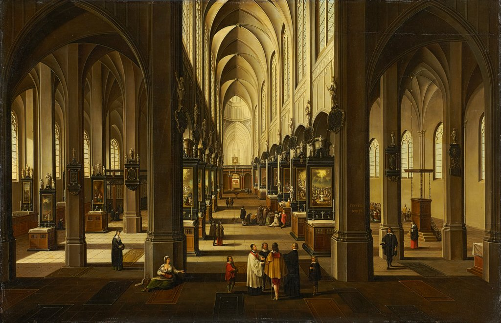 Interior of Antwerp Cathedral, Pieter Neefs the Younger  workshop, Frans Francken III  workshop