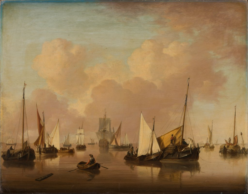 Boats and Sailboats on a Quiet Sea, Jan van Os