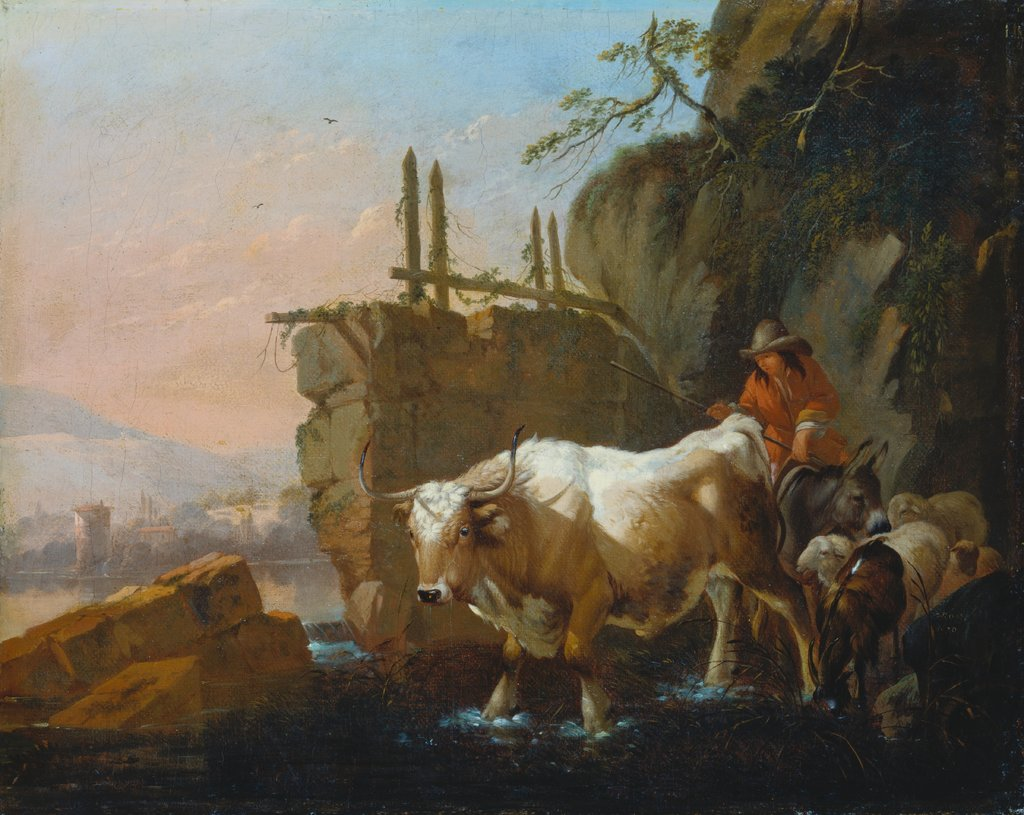 Herdsmen Driving Cattle through a Ford, Johann Heinrich Roos