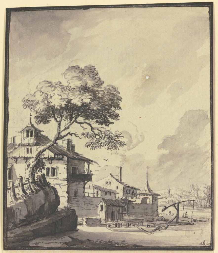 Building at a river, Johann Ludwig Aberli