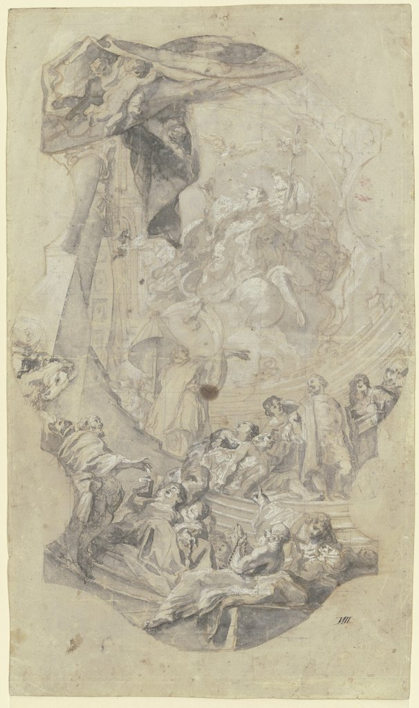 Founding of the Hospital of the Holy Spirit: Study for the main fresco on the ceiling in the nave of the hospital church Heilig Geist in Munich, Cosmas Damian Asam