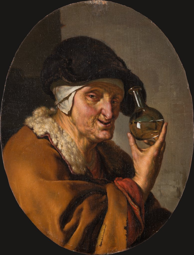 "An Old Woman with Urine Glass: ""The Quack"", Willem van Mieris"