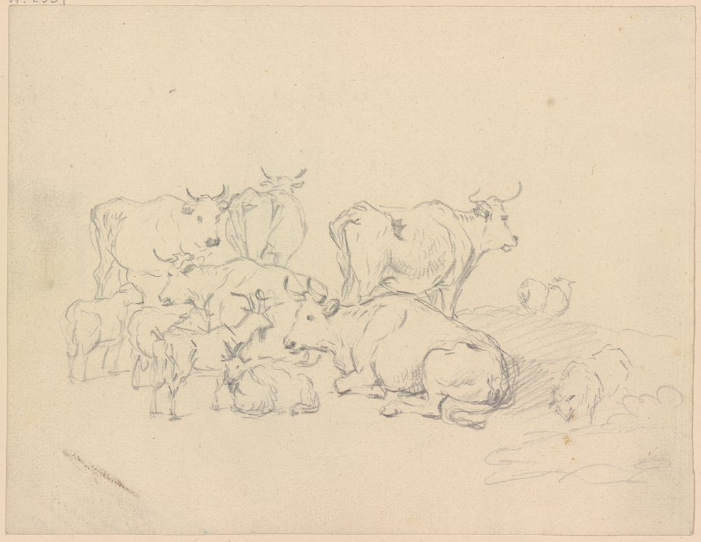 Cows and goats, Friedrich Wilhelm Hirt