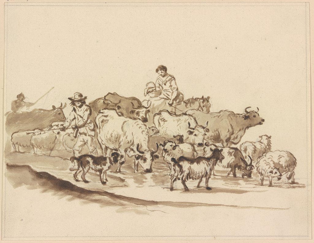 Cattle herds with shephers, Friedrich Wilhelm Hirt