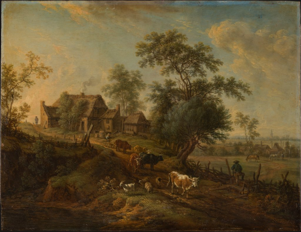 Landscape with Farm Animals on a Road, Christian Georg Schütz the Elder