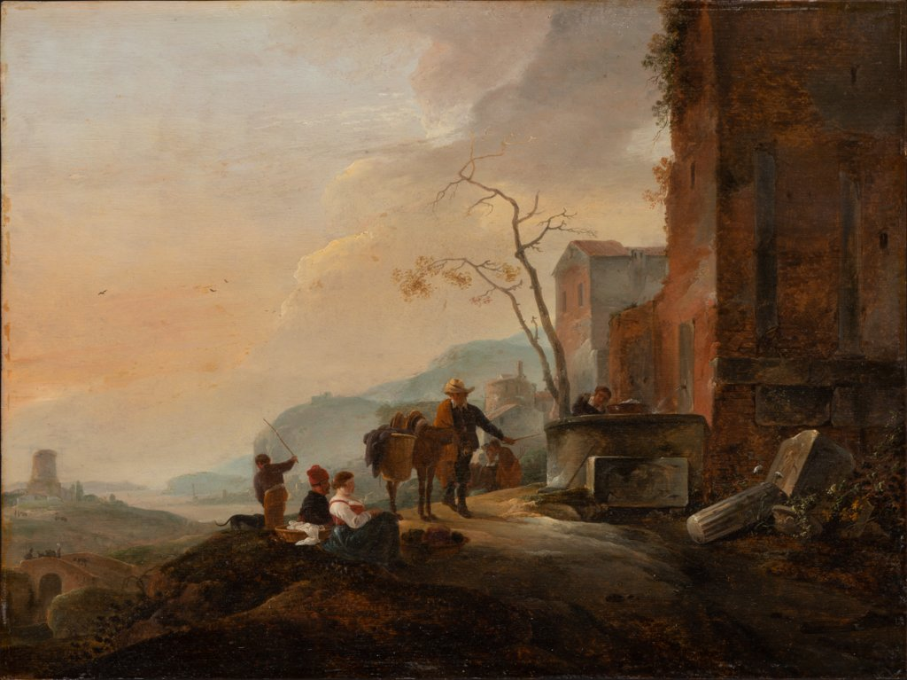 Italian Landscape with Figures at a Fountain among Antique Ruins, Thomas Wijck