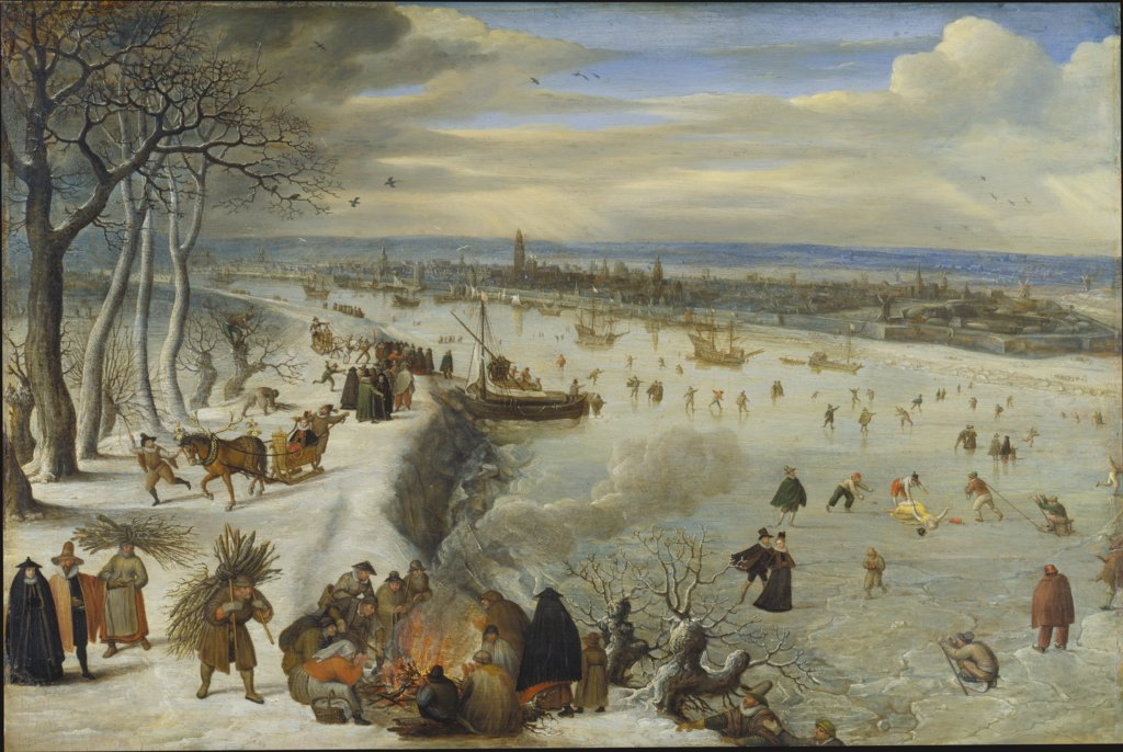 View of Antwerp with Frozen Schelde, Lucas van Valckenborch